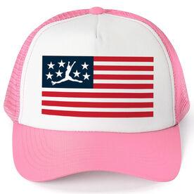 Figure Skating Trucker Hat - American Flag