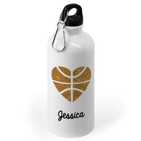 Basketball 20 oz. Stainless Steel Water Bottle - Heart with Gold Basketball