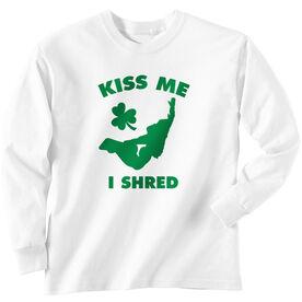 Snowboarding Tshirt Long Sleeve Kiss Me I Shred