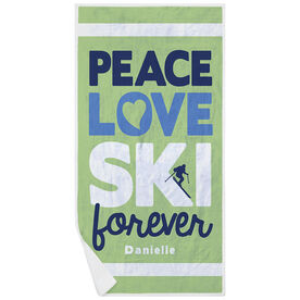 Skiing Premium Beach Towel - Peace Love Ski Forever