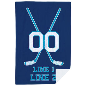 Hockey Premium Blanket - Personalized Player Crossed Sticks