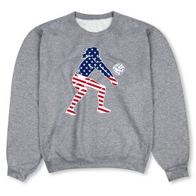 Volleyball Crew Neck Sweatshirt - Volleyball Stars and Stripes Player