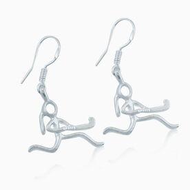 Silver Field Hockey Girl (Stick Figure) Earrings