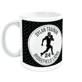 Football Coffee Mug Personalized Team with Running Back Silhouette