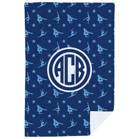 Gymnastics Premium Blanket - Gymnast Pattern with Monogram