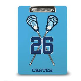 Guys Lacrosse Custom Clipboard Personalized Lacrosse Crossed Guy Sticks