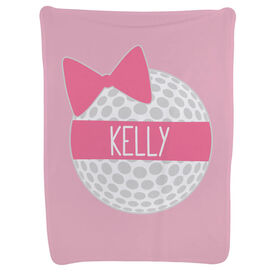 Golf Baby Blanket - Personalized Golf Ball Bow