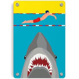 Swimming Metal Wall Art Panel - Shark Attack (Guy Swimmer)