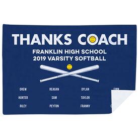 Softball Premium Blanket - Thanks Coach (Horizontal)
