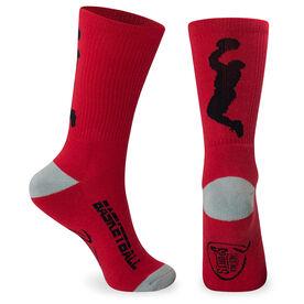 Basketball Woven Mid Calf Socks - Player (Red/Gray)