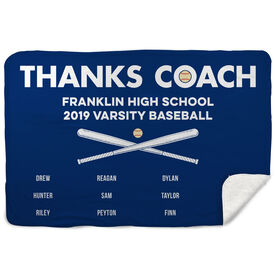 Baseball Sherpa Fleece Blanket - Thanks Coach (Horizontal)