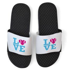 Softball White Slide Sandals - LOVE