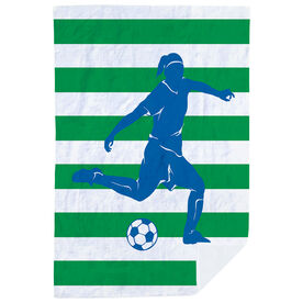 Soccer Premium Blanket - Stripes with Player Girl