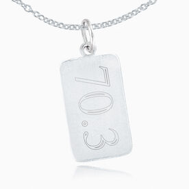 Sterling Silver 70.3 Rectangular Tag Charm Necklace