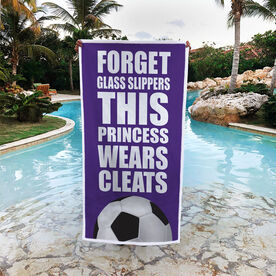 Soccer Premium Beach Towel - Forget Glass Slippers This Princess Wears Cleats