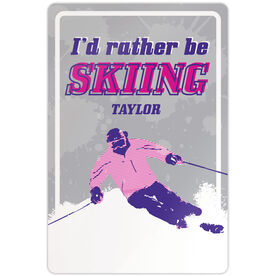 """Skiing 18"""" X 12"""" Aluminum Room Sign I'd Rather Be Skiing Girl"""
