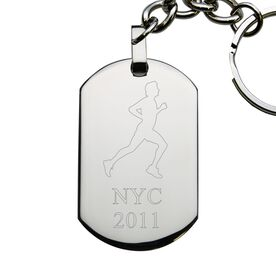 Running Male Engraved Stainless Steel Dog Tag Keychain
