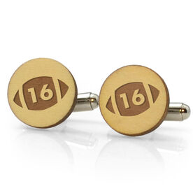 Football Engraved Wood Cufflinks Ball with Your Number