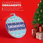 Swimming Round Ceramic Ornament - Swim With Christmas Lights