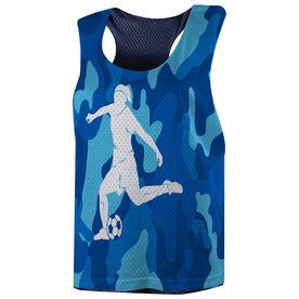 Soccer Racerback Pinnie - Camouflage Soccer Girl
