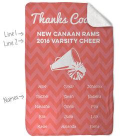 Cheerleading Sherpa Fleece Blanket Personalized Thanks Coach Chevron