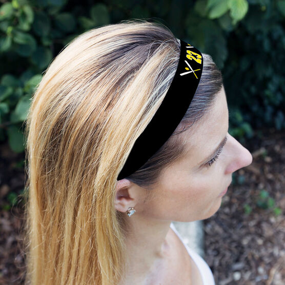 Softball Juliband No-Slip Headband - Crossed Bats and Number