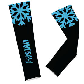 Skiing & Snowboarding Printed Arm Sleeves - Snowflake Your Text Here