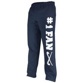 Field Hockey Fleece Sweatpants #1 Fan with Field Hockey Sticks