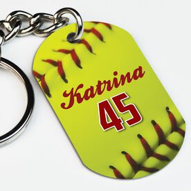 Softball Printed Dog Tag Keychain Personalized Softball Stitches