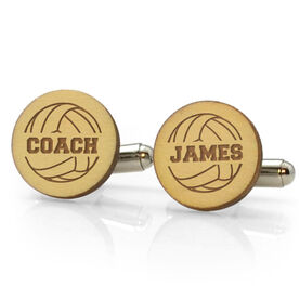 Volleyball Engraved Wood Cufflinks Ball with Coach Name