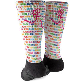 Running Printed Mid-Calf Socks - Run Run Run with Stick Figure