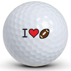 I Heart Football Golf Balls