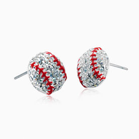 Softball/Baseball Rhinestone Earrings - Super Spark Clear with Red Stitching