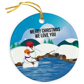 Fly Fishing Porcelain Ornament Casting Snowman Dad