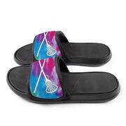 Girls Lacrosse Repwell® Slide Sandals - Tie-Dye With Crossed Sticks