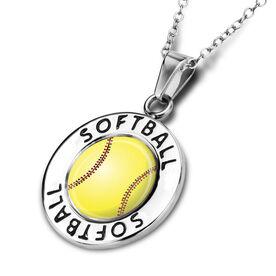 Softball Circle Necklace Stitched Softball Graphic