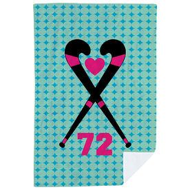 Field Hockey Premium Blanket - Personalized Field Hockey Crossed Sticks Heart Dots