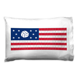 Volleyball Pillowcase - American Flag Sport Word Stripes