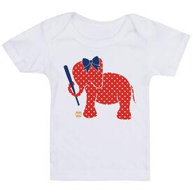 Baseball Baby T-Shirt - Baseball Elephant with Bow