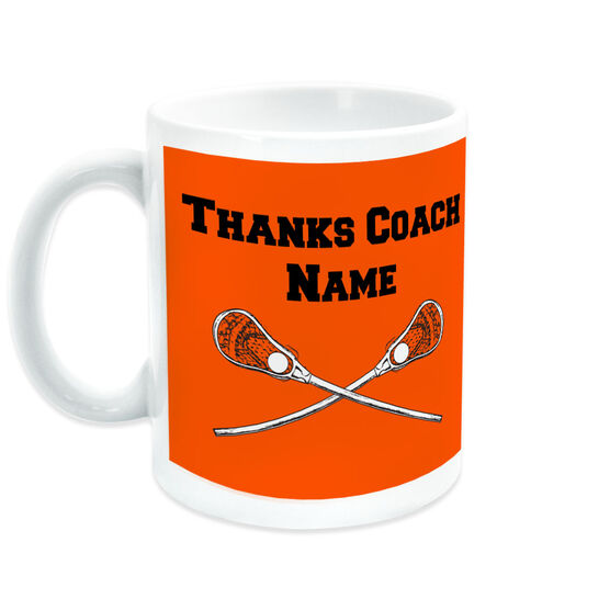 Guys Lacrosse Coffee Mug Thanks Coach Crossed Sticks
