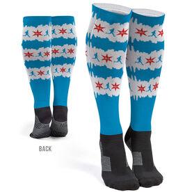 Running Printed Knee-High Socks - Chicago Flag 26.2