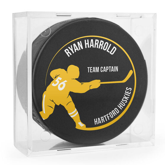 Personalized Hockey Puck - Player Silhouette