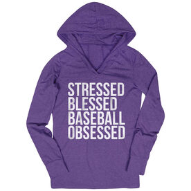 Baseball Lightweight Performance Hoodie - Stressed Blessed Baseball Obsessed