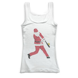 Softball Vintage Fitted Tank Top - Home Run Santa