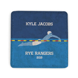 Swimming Stone Coaster - Personalized Team Guy