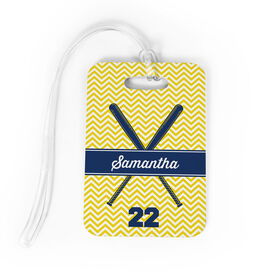 Softball Bag/Luggage Tag - Personalized Softball Crossed Bats Chevron