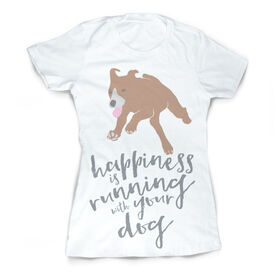 Vintage Running Fitted T-Shirt - Happiness is Running With Your Dog