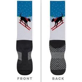 Skiing Printed Mid-Calf Socks - Vintage Dog