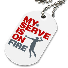 Volleyball Printed Dog Tag Necklace My Serve Is On Fire