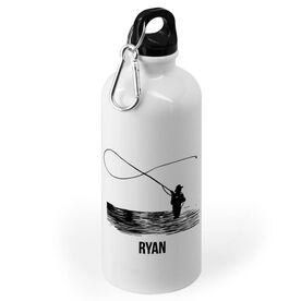 Fly Fishing 20 oz. Stainless Steel Water Bottle - Fisherman Silhouette